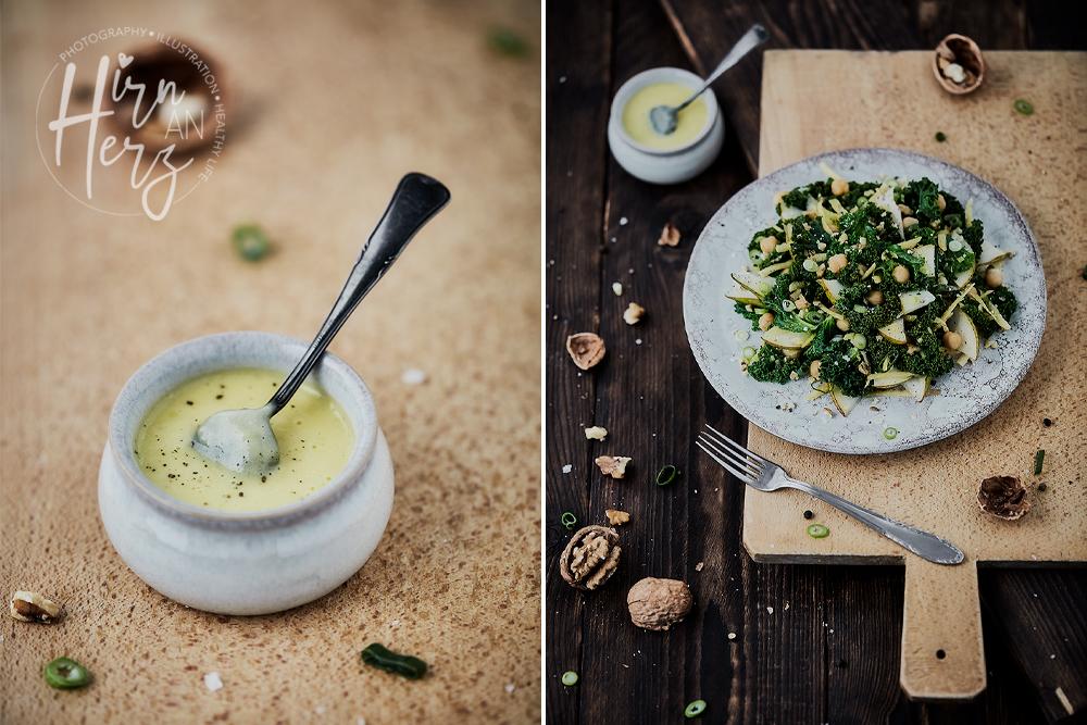 Grünkohl Birnen Kichererbsen Salat