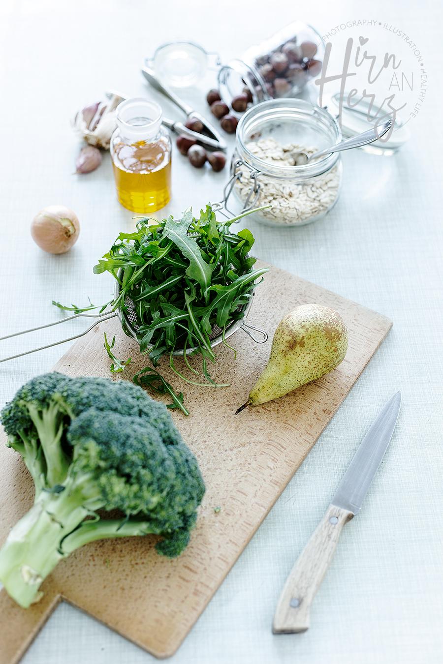 Zutaten-Brokoli-Rucola-Birnen-Brotaufstrich